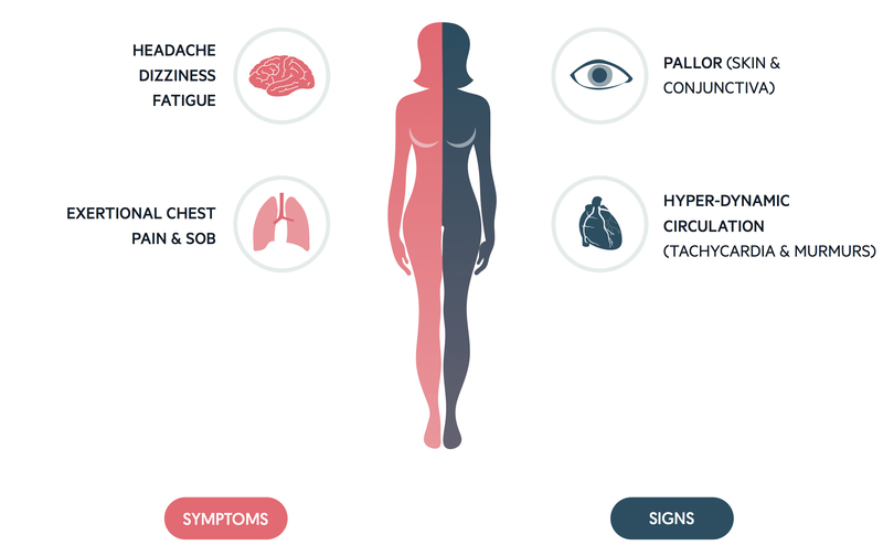 Clinical features of anaemia